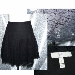 Joie Little Black Lace Skirt S mini flare